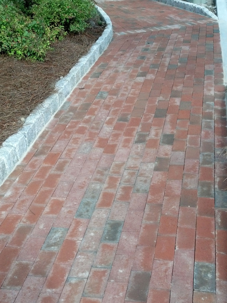 Brick Paver Walkway with Jumbo Cabbo Stone 7