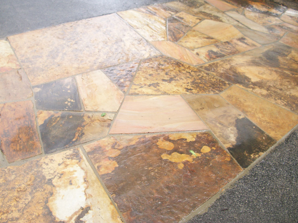 Brown Flagstone Super Slabs on Concrete Slab 1