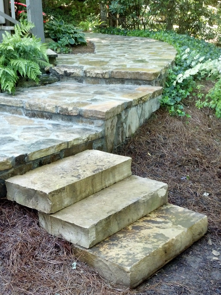 Fieldstone walkway and steps