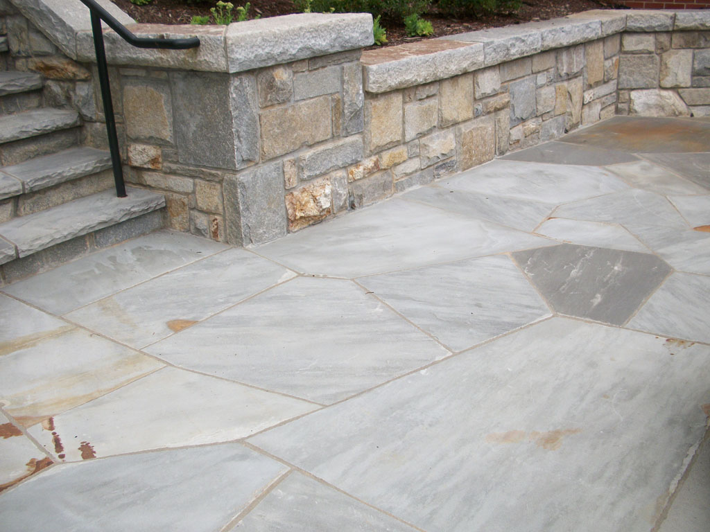 Grey flagstone patio and retainig wall sample 8