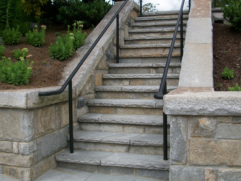 Weather granite and tennessee flagstone cut on stone steps for Pictures of stone steps